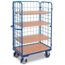 Hoher Etagenwagen mit 3 Wänden und 4 Böden, LxBxH 1370 x 825 x 1820 mm, Tragkraft 500 kg