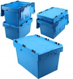 5x Universal Klappdeckelboxen, verplompbar, LxBxH 600 x 400 x 350 mm, 58 Liter, blau