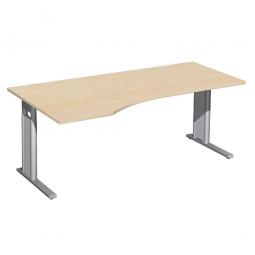 Schreibtisch PREMIUM höhenverstellbar, links, Ahorn/Silber, BxTxH 1800x800/1000x680-820 mm