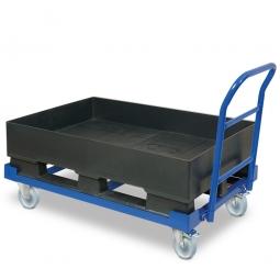 Fahrbare Auffangwanne mit Kufen, BxTxH 1200 x 800 x 230/545 mm, Auffangvolumen 120 Liter