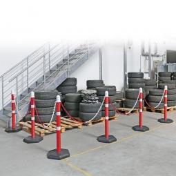 Ketten- / Warnständer Komplett-Set mit 6 Kettenständern, 10 m Kette, 1000 mm hoch, Kunststofffuß betongefüllt