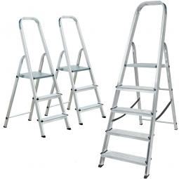 Spar-Set mit 3 Alu-Bügelleitern, 2x Bügelleiter mit 3 Stufen + 1x Bügelleiter mit 5 Stufen