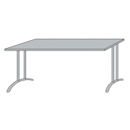 Schreibtisch mit Bogenformgestell, weißaluminium, Platte lichtgrau, BxTxH 1200x800x720 mm