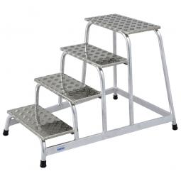 Leichtmetall-Montagetritt, mit 4 Stufen, Standhöhe 800 mm, Arbeitshöhe bis 2800 mm, Gewicht 11 kg