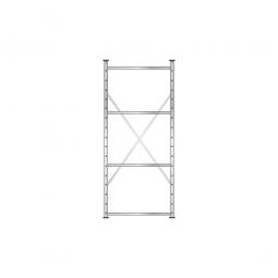 Fachbodenregal Flex mit 4 Fachböden, Stecksystem, glanzverzinkt, BxTxH 870 x 415 x 2000 mm, Tragkraft 150 kg/Boden