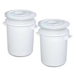 Set-Tonnen, 75 Liter, Ø oben/unten 495/385 mm, Höhe 570 mm, weiß