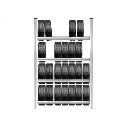 Reifenregal mit 4 Reifenebenen, verzinkt, Stecksystem, BxTxH 1580 x 425 x 2500 mm