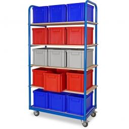 Kommissionierwagen mit 5 Ebenen und 15 Behältern in Farbe blau, rot und grau