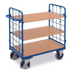 Etagenwagen mit 2 Wänden und 3 Böden, LxBxH 1195 x 720 x 1220 mm, Tragkraft 500 kg