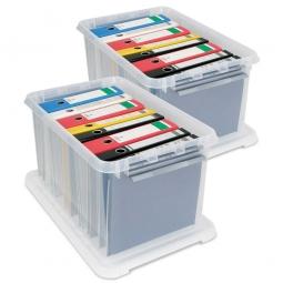 Ordnerboxen-Set mit Deckel, Inhalt 62 Liter, LxBxH 600x400x340 mm, Polypropylen transparent (VE=2 Stück)