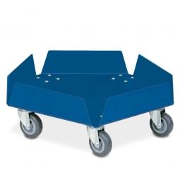 Aluminium-Tonnenroller, kunststoffbeschichtet blau, mit verzinkten Lenkrollen und 5 Rädern Ø 75 mm mit grauer Polyurethanlauffläche