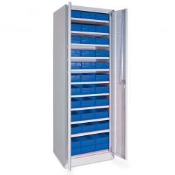 Schrank mit Regalkästen blau, LxBxH 400 x 183 x 81 mm, Türen in lichtgrau RAL 7035