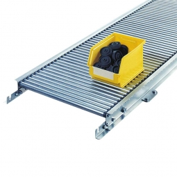 Klein-Rollenbahn, LxB 3000 x 240 mm, Bahnbreite: 200 mm, Achsabstand: 37,5 mm, Tragrollen Ø 30x1,0 mm