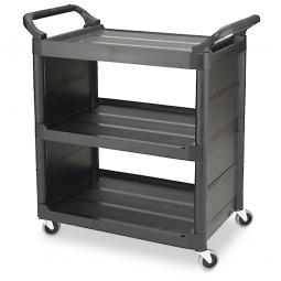 Mehrzweckwagen aus Kunststoff von Rubbermaid mit 3 Böden und 2 geschlossenen Seiten, schwarz, Belastbarkeit bis 68 kg