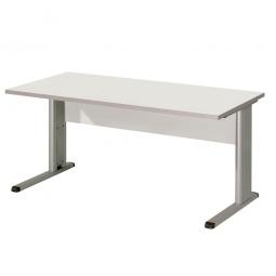 Schreibtisch mit C-Fußgestell, Farbe silber, Platte lichtgrau, BxTxH 1600x800x680-820 mm