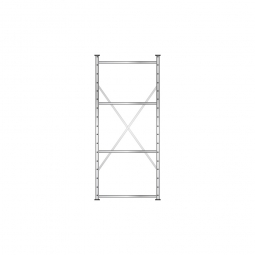 Fachbodenregal Flex mit 4 Fachböden, Stecksystem, glanzverzinkt, BxTxH 870 x 515 x 2000 mm, Tragkraft 240 kg/Boden