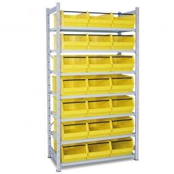 Steckregal, verzinkt, HxBxT 2000x1070x515 mm, 7 Böden, 21 Sichtboxen LB 2T Farbe gelb