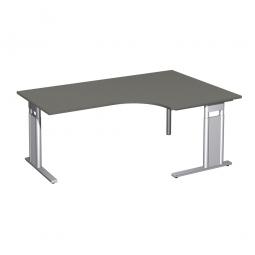 Schreibtisch PREMIUM, Tischansatz rechts, Graphit/Silber, BxTxH 1800x800/1200x680-820 mm