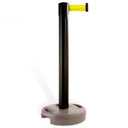 Mobiler Pfosten mit Absperrgurt, Pfosten schwarz, Gurt neongelb, Höhe 970 mm