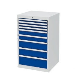 System-Schubladenschrank mit 9 Schubladen, BxTxH 600x575x1020 mm, lichtgrau/enzianblau