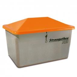 Streugut-Behälter, Volumen 2200 L, grau/orange, BxTxH 2130x1520x1240 mm, glasfaserverstärkter Kunstst. (GFK)