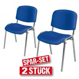 2x Polsterstühle blau, Spar-Set, BxTxH 545 x 425 x 820 mm, Sitz BxTxH 475 x 415 x 470 mm