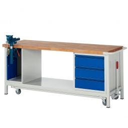 "Fahrbare Werkbank ""Profi"" mit Schraubstock + 3 Schubladen, Fahrbar, BxTxH 2000x700x880 mm"