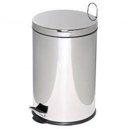 Tret-Abfalleimer, Inhalt 12 Liter, chrom, HxØ 395x255 mm, Deckelöffnung mit Pedalmechanik