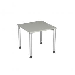 Schreibtisch Komfort, Gestell silber, Dekor lichtgrau, BxTxH 800x800x720 mm