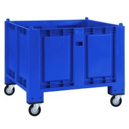 Palettenbox mit 4 Gummi-Lenkrollen Ø 120 mm, blau, 1200 x 800 x 1000 mm, Boden/Wände geschlossen