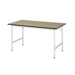 Arbeitstisch mit MDF-Tischplatte, BxTxH 1000x1000x800-850 mm, Gestell lichtgrau RAL 7035