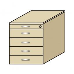 Standcontainer, 5 Schubladen, Ahorn, BxTxH 435x800x680-740 mm