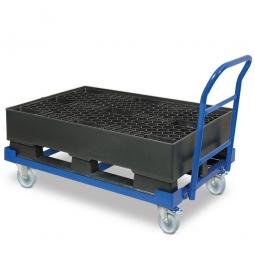 Fahrbare Auffangwanne mit Kunststoffgitter und Kufen, BxTxH 1200 x 800 x 230/545 mm, Auffangvolumen 120 Liter