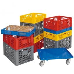 Set mit 11 Euro-Stapelbehältern Ausf. durchbrochen, in 4 Größen + Gratis-Zugabe: 1 Transportroller