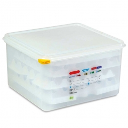 Eier-Transportbox, Polypropylen-Kunststoff (PE-HD), LxBxH 354x325x200 mm, Behälter im Gastronorm-Maß GN 2/3
