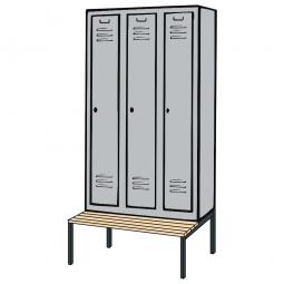 Kleiderspind mit untergebauter Sitzbank und Drehriegelverschluss, HxBxT 2090x1200x500/815 mm