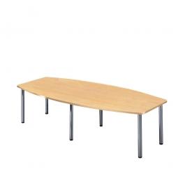 Konferenztisch mit 6 Rundrohrfüßen, chrom, Platte Buche, BxTxH 2800x1300/780x740 mm