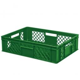 Eurobehälter mit 4 Durchfassgriffen, LxBxH 600 x 400 x 150 mm, 27 Liter, grün