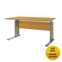 Verkettungs-Schreibtisch, Gestell silber, Platte Buche, BxTxH 1200x800x680-820 mm