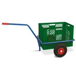 Handwagen mit Kunststoffkorb, H 410 mm, grün, LxBxH 1250 x 640 x 660 mm, Tragkraft 200 kg