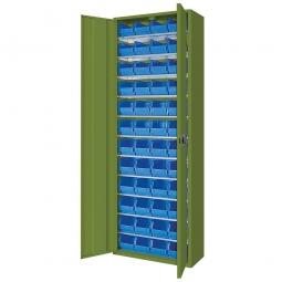 Schrank mit Sichtboxen, mit Türen, HxBxT 1980x700x300 mm, resedagrün RAL 6011