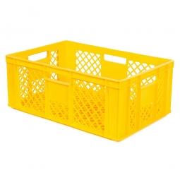 Durchbrochener Eurobehälter mit 4 Durchfassgriffen, LxBxH 600x400x240 mm, 43 Liter, gelb