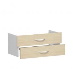 Schubladenset FLEX, Ahorn, Breite 800 mm, hochwertige Metallgriffe in silbermatt
