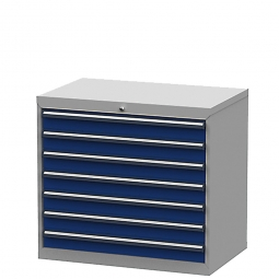 System-Schubladenschrank mit 7 Schubalden, BxTxH 900x575x820 mm, lichtgrau/enzianblau