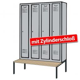 Kleiderspind mit untergebauter Sitzbank und Zylinderschloss, HxBxT 2090x1590x500/815 mm