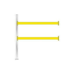 Paletten-Anbauregal für 9 Europaletten, Tragbalkenebenen mit 38 mm Spanplattenböden, Fachlast 2900 kg/Tragbalkenpaar, BxTxH 2785 x 1100 x 3000 mm