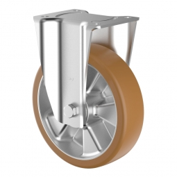 Schwerlast-Bockrolle, Polyurethan, Rad-ØxB 160 x 50 mm, Tragkraft 880 kg