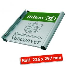 """Türschild """"Genf"""", laubgrün RAL 6002, BxH 226x297 mm"""