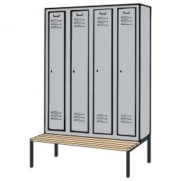 Kleiderspind mit untergebauter Sitzbank und Drehriegelverschluss, HxBxT 2090x1590x500/815 mm
