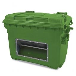 Streugutbehälter mit Entnahmeöffnung, Inhalt 660 Liter, grün, BxTxH 1360 x 765 x 1000 mm